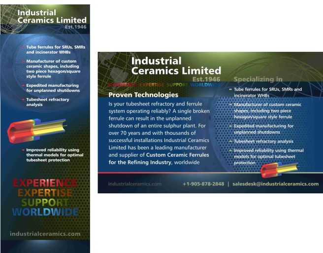 A portion of ICL's new tradeshow display, and a companion print ad (Middle East Oil & Gas Magazine)